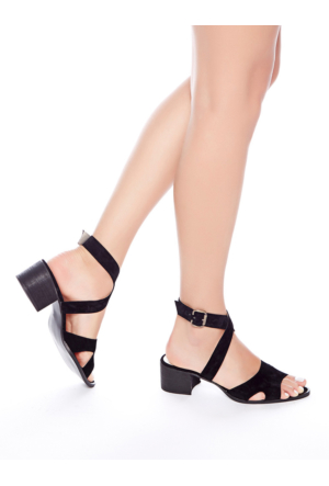 Mecrea Exclusive Utah Siyah Süet Dekolte Topuklu Sandalet