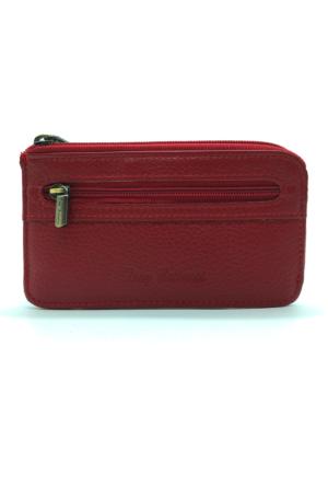 Tony Bellucci M10-960 Kırmızı Gerçek Deri Anahtarlıklı Mini Cüzdan