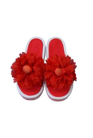 Akinalbella Bayan Masaj Terliği Kırmızı Çiçekli
