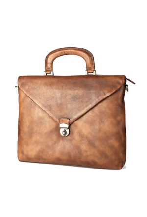 Casuha Fashion Retro Genuine Leather Bag Top quality Business Brief, Açık kahve