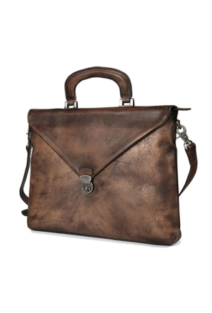 Casuha Fashion Retro Genuine Leather Bag Top quality Business Brief, Koyu kahve