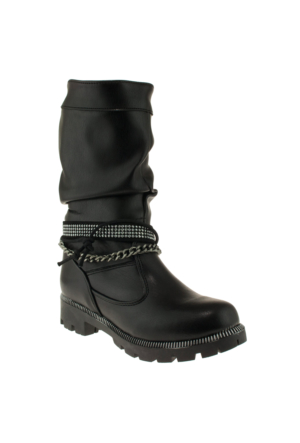 Pink Step Almira Zincirli Siyah Çocuk Çizme
