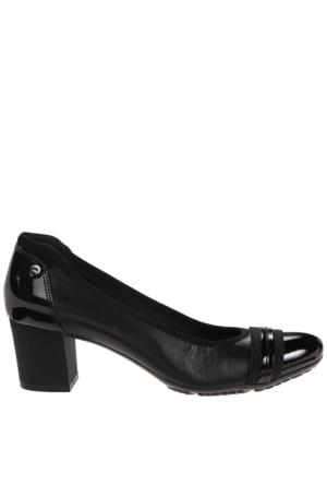 Anne Klein Akguardian Siyah Gerçek Deri Orta Boy Topuklu Ayakkabı