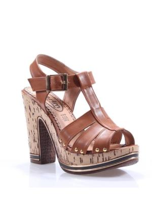 Perim 714 Metal Taşlı Topuklu 12 Cm Cilt Bayan Sandalet