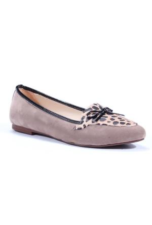 Tzcn Stiletto Leopar Desenli Fiyonklu Bayan Babet Ayakkabı