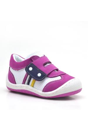 Nino Hakiki Deri Cırtlı Pembe Kız Bebek Ayakkabı