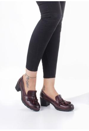 Erbilden Tua Bordo Cilt Kadın Püsküllü Oxford Ayakkabı