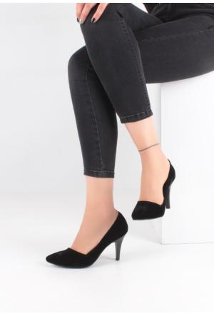 Erbilden Fes Siyah Süet Yan Kesim Kadın Stiletto Ayakkabı