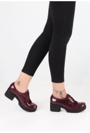 Erbilden Şef Bordo Rugan Püsküllü Kadın Oxford Ayakkabı
