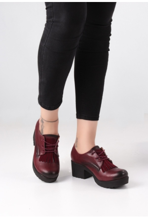 Erbilden Erb Bordo Cilt Püsküllü Kadın Oxford Ayakkabı