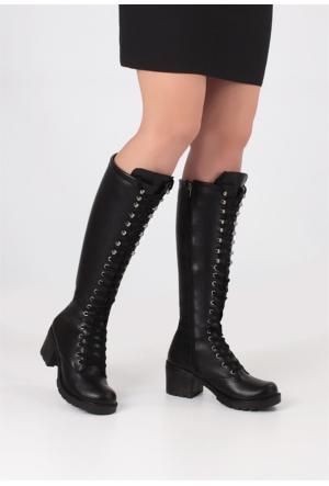 Erbilden Erb Siyah Fermuarlı Bağcıklı Kadın Çizme