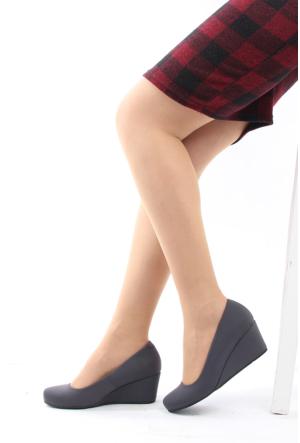 Gön Deri Kadın Ayakkabı 23165 Gri Streç