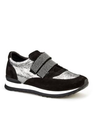 Cabani Cırt Bantlı Simli Günlük Kadın Ayakkabı Siyah Süet