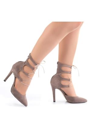 Modabuymus Bilekten Bağcıklı Vizon Stiletto
