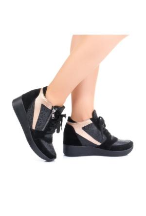 Modabuymus Gizli Dolgu Topuklu Siyah Sneakers Bot