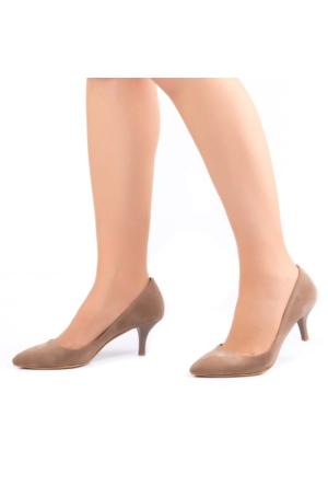 Modabuymus İnce ve Kısa Topuklu Vizon Bayan Stiletto
