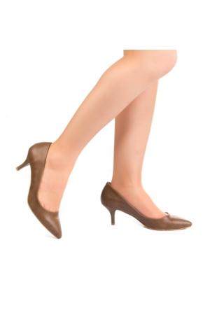Modabuymus Kısa Topuklu Vizon Stiletto