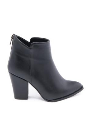 Modabuymus Rugoz Kısa Topuklu Siyah Bayan Bot