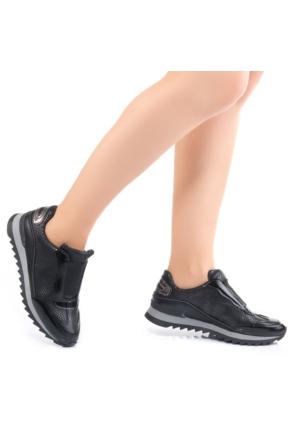 Modabuymus Siyah Lastikli Rahat Bayan Spor Sneaker Ayakkabı