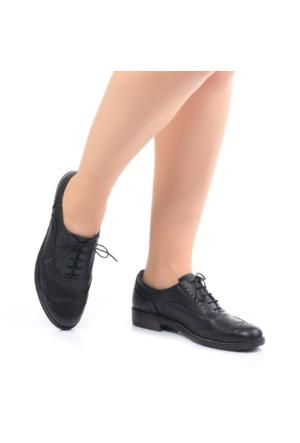 Modabuymus Siyah Oxford Deri Hafif Taban Bayan Ayakkabı