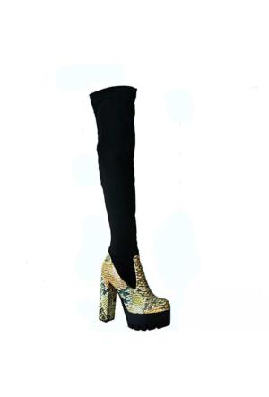 Ayakkabım Çantam 4060 Topuklu Kadın Çizme Siyah