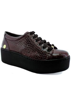 Mammamia D16Ya-60 Rugan Deri Kalın Tabanlı Ayakkabı Bordo