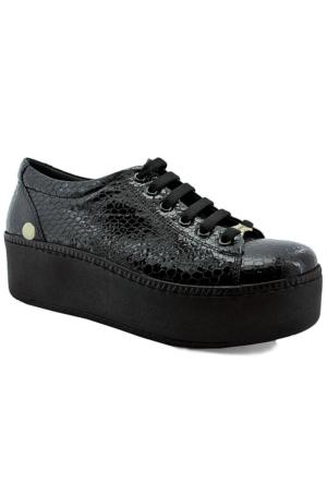 Mammamia D16Ya-60 Rugan Deri Kalın Tabanlı Ayakkabı Siyah Rugan