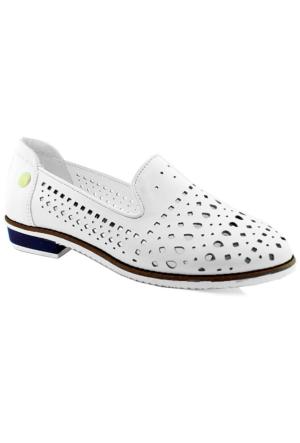 Mammamia D16Ya-675 Deri Kadın Ayakkabı Beyaz