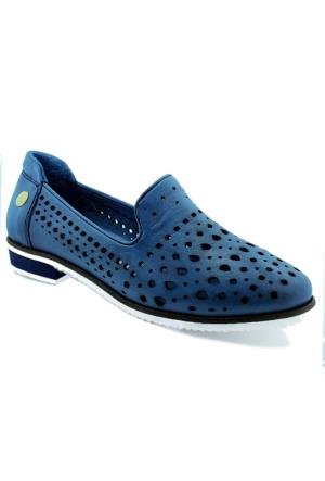 Mammamia D16Ya-675 Deri Kadın Ayakkabı Mavi