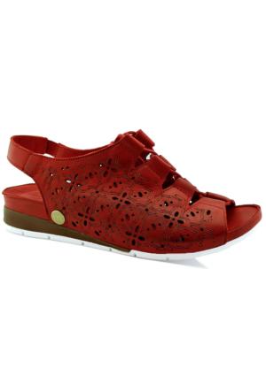 Mammamia D16Ys-1200 Ortopedik Tabanlı Deri Sandalet Kırmızı