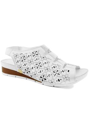 Mammamia D16Ys-1200 Ortopedik Tabanlı Deri Sandalet Beyaz