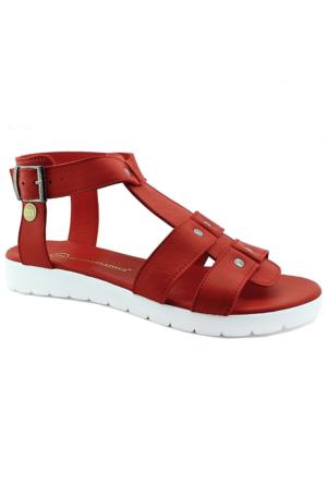 Mammamia D16Ys-1230 Kadın Deri Sandalet Kırmızı