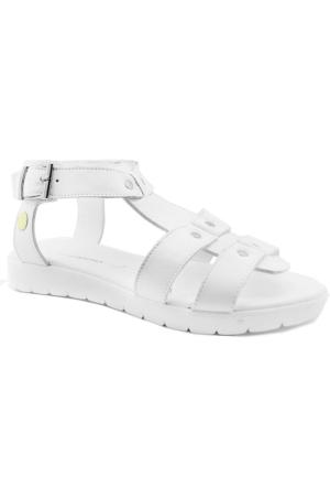 Mammamia D16Ys-1230 Kadın Deri Sandalet Beyaz