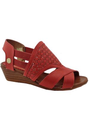 Mammamia D16Ya-3300 Deri Dolgu Topuklu Sandalet Kırmızı