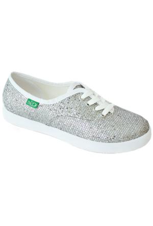 Ottimo 0103 Pullu Günlük Kadın Ayakkabı Gümüş