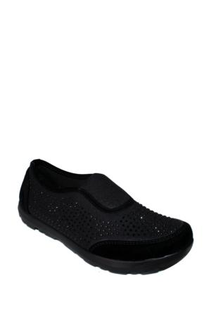 Doğal Ayakkabı Siyah Taşlı Spor Bayan Ayakkabı 100