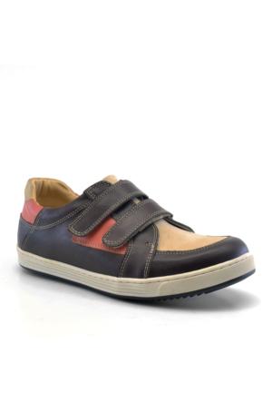 Raker Hakiki Deri Cırtlı Kahverengi Erkek Çocuk Spor Ayakkabısı