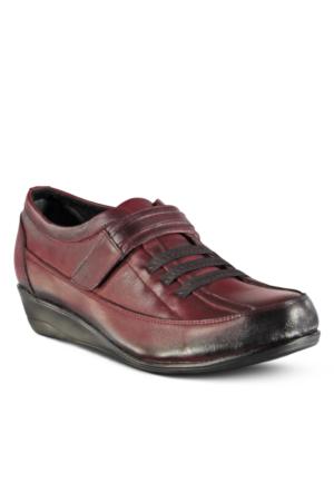 Marjin Forbire Deri Dolgu Topuklu Ayakkabı Bordo