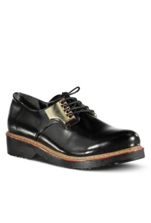Marjin Mabeli Düz Deri Ayakkabı Siyah Açma