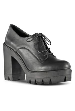 Marjin Lamer Platform Topuklu Ayakkabı Siyah