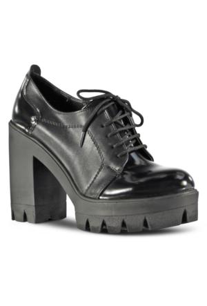 Marjin Ersis Deri Topuklu Ayakkabı Siyah Açma