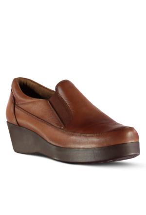 Marjin İdem Dolgu Tobuk Deri Ayakkabı Taba