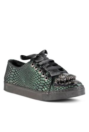 Marjin Almira Düz Spor Ayakkabı Yeşil Yılan