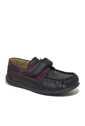 Raker Cırtlı Siyah Erkek Çocuk Okul Ayakkabısı