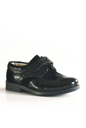 Raker Cırtlı Siyah Rugan Klasik Erkek Bebek Ayakkabısı