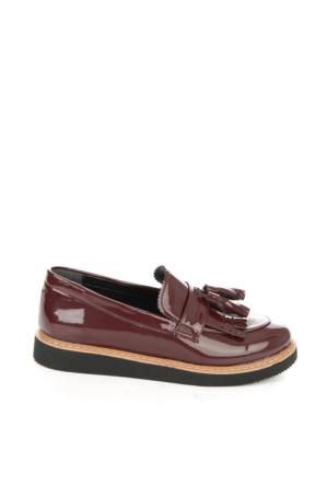 Bambi Kadın Bordo S.Rugan Loafer Ayakkabı