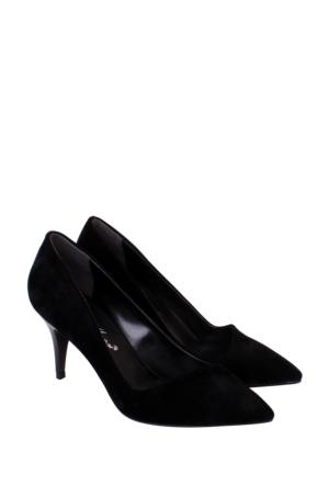 Mina Moor Siyah Süet Klasik Bayan Ayakkabı-11901
