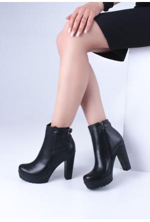 Erbilden Gök Siyah Cilt Kemerli Kadın Topuklu Bot