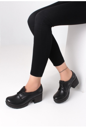 Erbilden Şef Siyah Cilt Kadın Oxford Ayakkabı