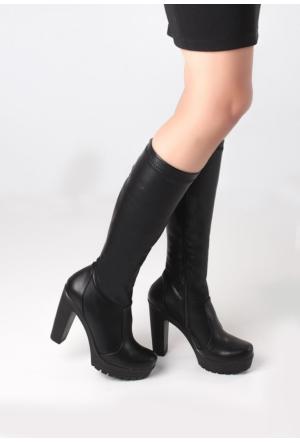 Erbilden Erb Siyah Cilt Kadın Çorap Çizme
